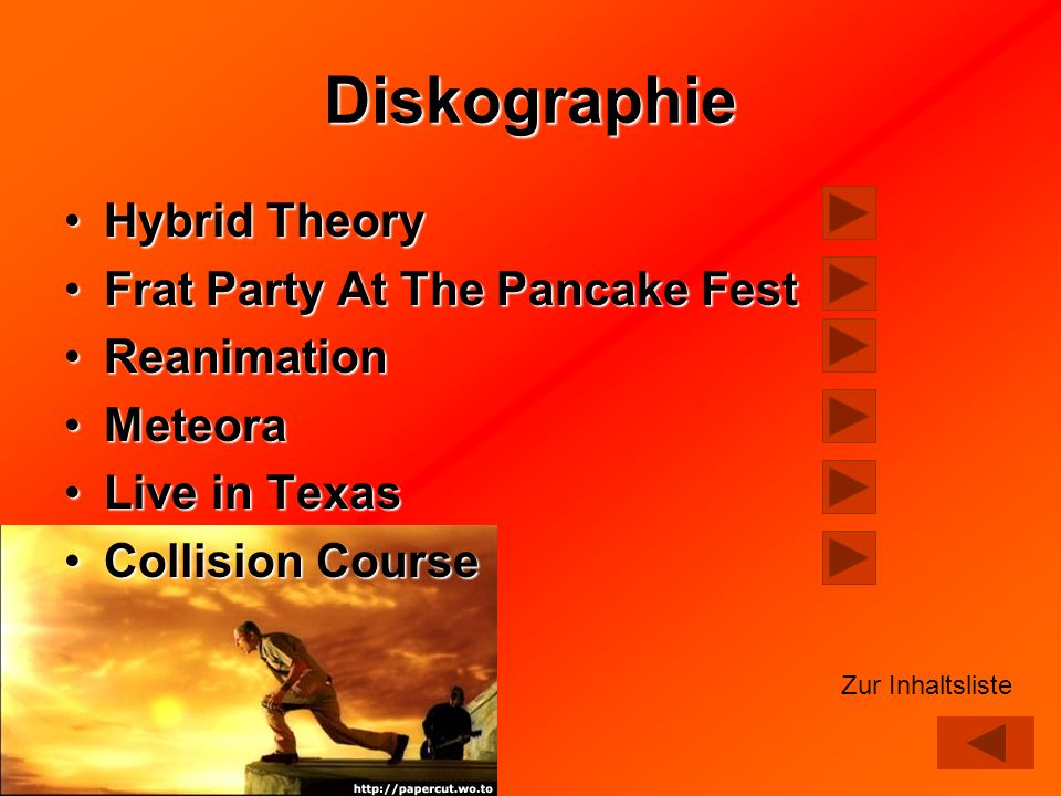 Diskographie Hybrid TheoryHybrid Theory Frat Party At The Pancake FestFrat Party At The Pancake Fest ReanimationReanimation MeteoraMeteora Live in Tex