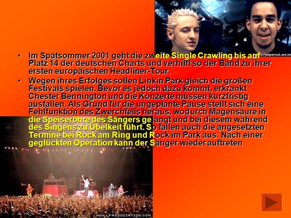 Im Spätsommer 2001 geht die zweite Single Crawling bis auf Platz 14 der deutschen Charts und verhilft so der Band zu ihrer ersten europäischen Headlin