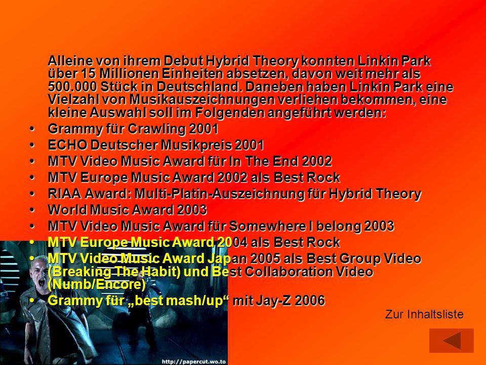 Alleine von ihrem Debut Hybrid Theory konnten Linkin Park über 15 Millionen Einheiten absetzen, davon weit mehr als 500.000 Stück in Deutschland. Dane