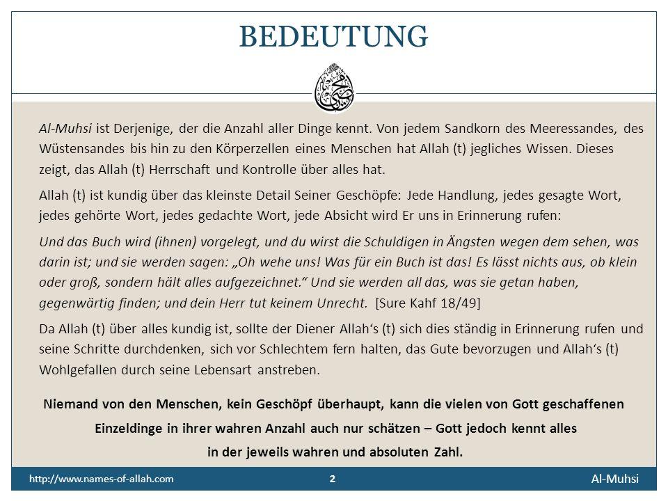 DER ZÄHLENDE, DER ALLES ERFASSENDE, DER ALLES AUFZEICHNENDE Der Allwissende, Der alles kennt. Al-Muhsi http://www.names-of-allah.com