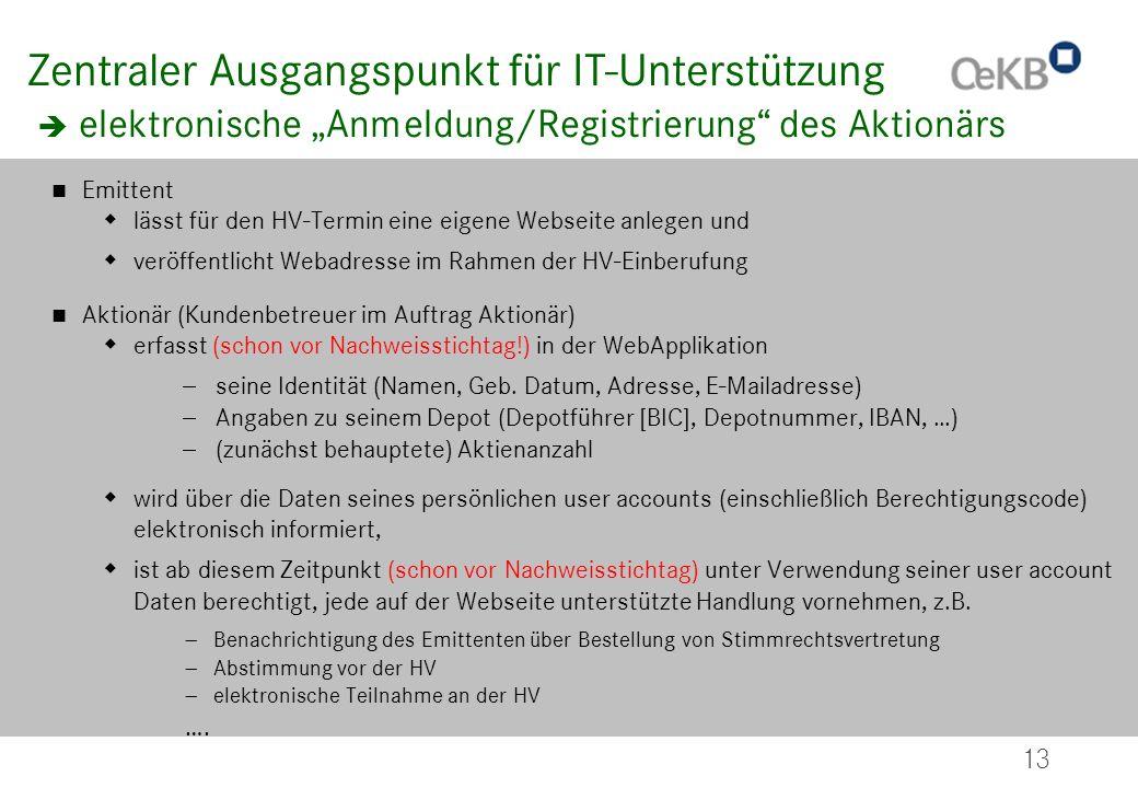 13 Zentraler Ausgangspunkt für IT-Unterstützung elektronische Anmeldung/Registrierung des Aktionärs Emittent lässt für den HV-Termin eine eigene Webse