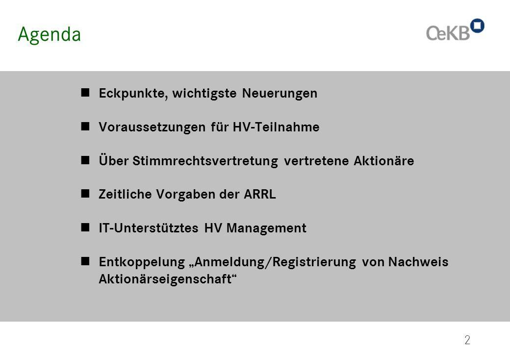 2 Agenda Eckpunkte, wichtigste Neuerungen Voraussetzungen für HV-Teilnahme Über Stimmrechtsvertretung vertretene Aktionäre Zeitliche Vorgaben der ARRL
