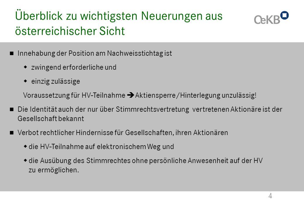 4 Überblick zu wichtigsten Neuerungen aus österreichischer Sicht Innehabung der Position am Nachweisstichtag ist zwingend erforderliche und einzig zul