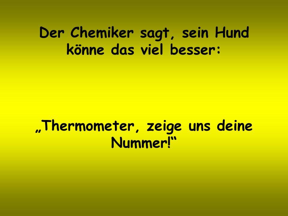 Der Chemiker sagt, sein Hund könne das viel besser: Thermometer, zeige uns deine Nummer!