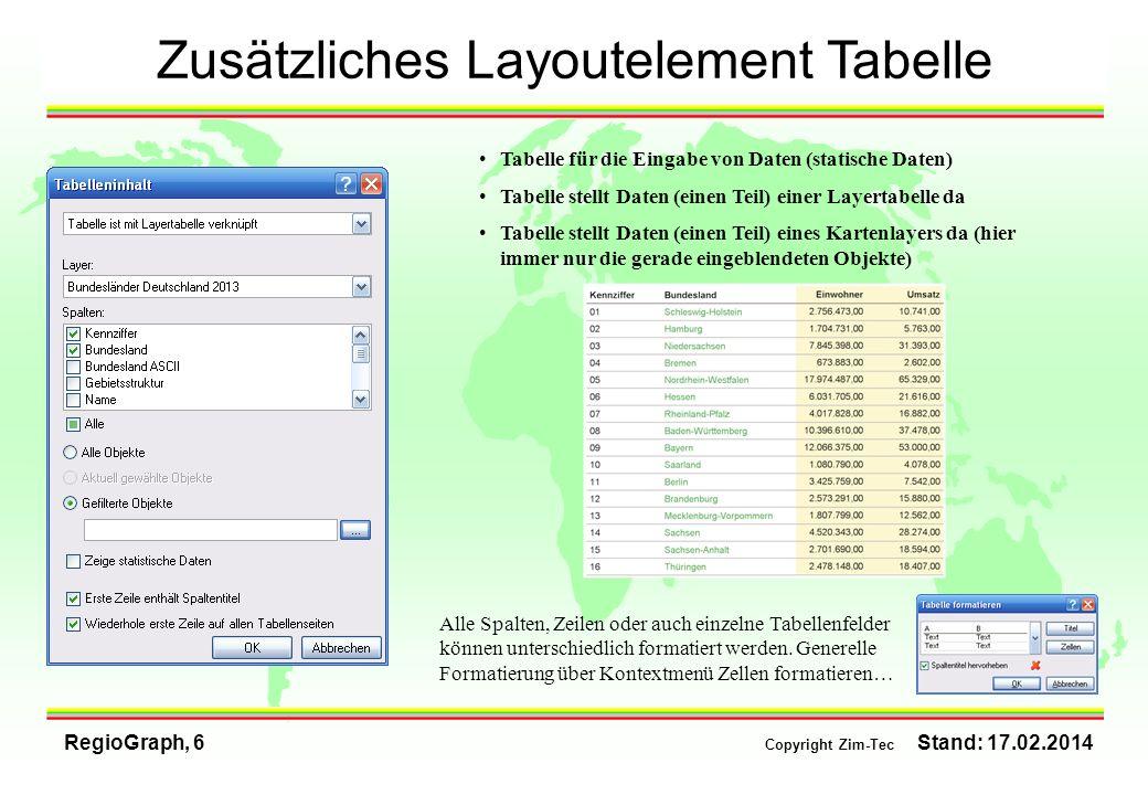 RegioGraph, 6 Copyright Zim-Tec Stand: 17.02.2014 Zusätzliches Layoutelement Tabelle Tabelle für die Eingabe von Daten (statische Daten) Tabelle stell