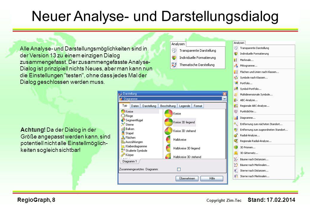 RegioGraph, 8 Copyright Zim-Tec Stand: 17.02.2014 Neuer Analyse- und Darstellungsdialog Alle Analyse- und Darstellungsmöglichkeiten sind in der Versio