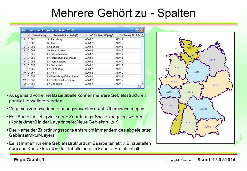 RegioGraph, 9 Copyright Zim-Tec Stand: 17.02.2014 Mehrere Gehört zu - Spalten Ausgehend von einer Basistabelle können mehrere Gebietsstrukturen parall
