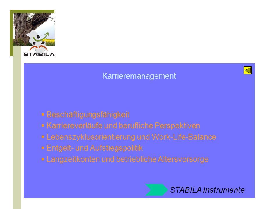STABILA Angebote zum Feld: Karrieremanagement Entgeltgestaltung und Erfolgsbeteiligung Personalentwicklung 45+ Strategieentwicklung Beschäftigungsfähigkeit
