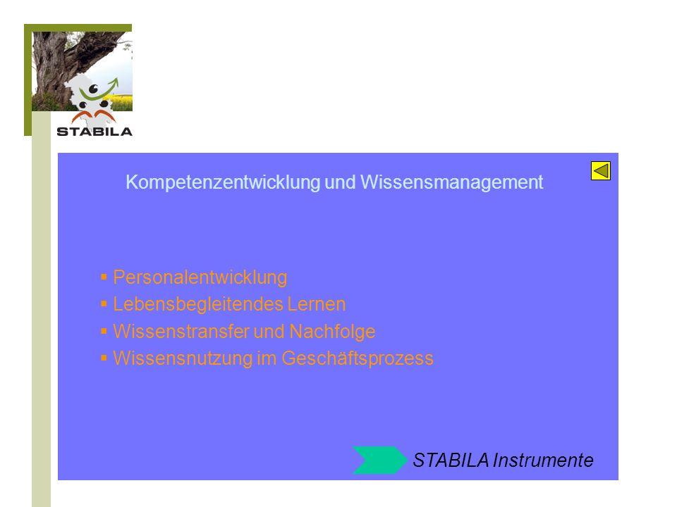 STABILA Angebote zum Feld: Kompetenzentwicklung und Wissensmanagement Wissens- und Kompetenzbilanzen Personalentwicklung 45+ Strukturierter Wissenstransfer Wissensnutzung mit Easy Knowledge