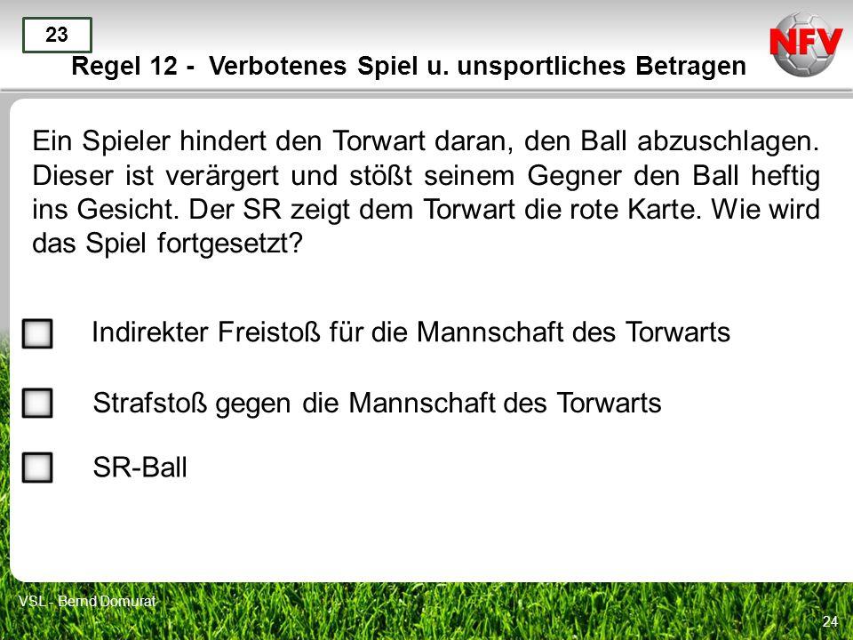 24 Regel 12 - Verbotenes Spiel u. unsportliches Betragen Ein Spieler hindert den Torwart daran, den Ball abzuschlagen. Dieser ist verärgert und stößt