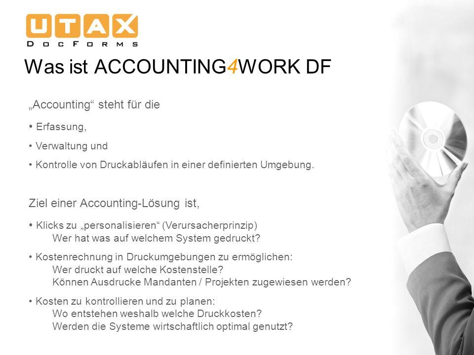 Accounting steht für die Erfassung, Verwaltung und Kontrolle von Druckabläufen in einer definierten Umgebung. Ziel einer Accounting-Lösung ist, Klicks