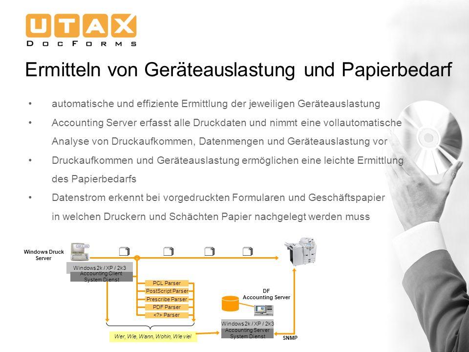 Ermitteln von Geräteauslastung und Papierbedarf automatische und effiziente Ermittlung der jeweiligen Geräteauslastung Accounting Server erfasst alle