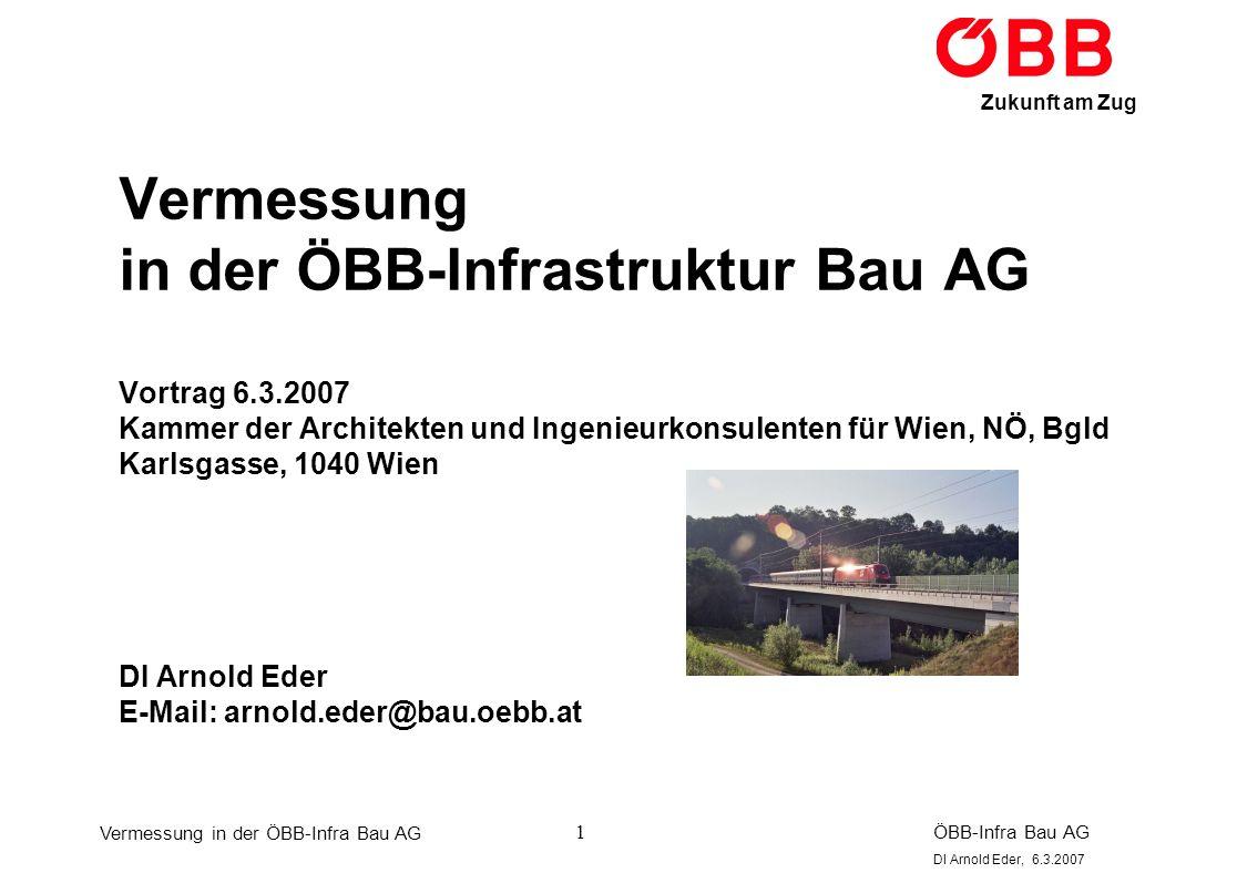 Vermessung in der ÖBB-Infra Bau AG ÖBB-Infra Bau AG DI Arnold Eder, 6.3.2007 Zukunft am Zug 12 Anbindung an AREF: In einer Kooperation zwischen dem Bundesamt für Eich- und Vermessungswesen (BEV) und der GPS-Netz Ziviltechniker GmbH wurde das vorhandene GPS-Netz AGREF (ca.
