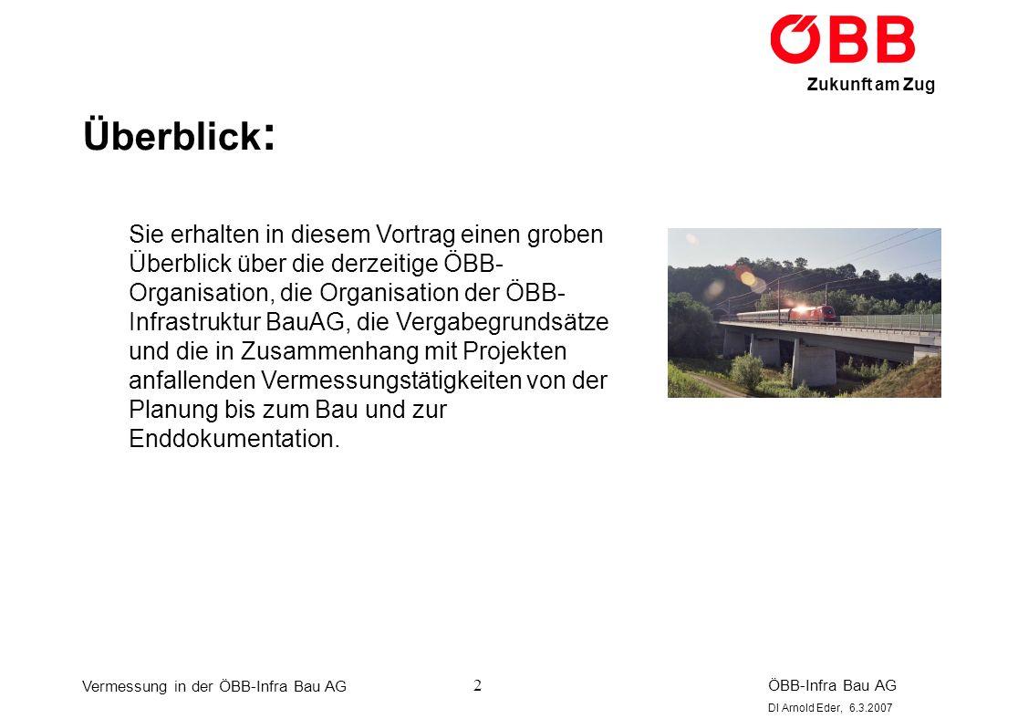Vermessung in der ÖBB-Infra Bau AG ÖBB-Infra Bau AG DI Arnold Eder, 6.3.2007 Zukunft am Zug 3 Organisation ÖBB