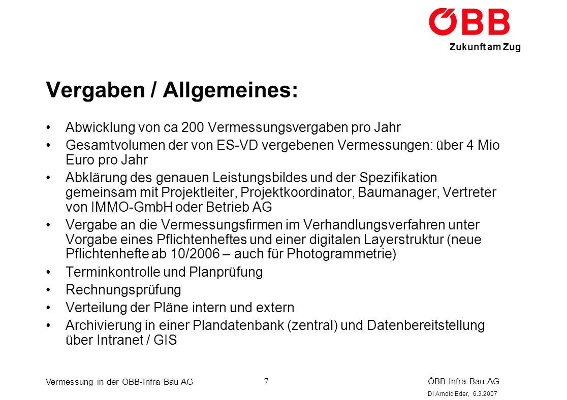 Vermessung in der ÖBB-Infra Bau AG ÖBB-Infra Bau AG DI Arnold Eder, 6.3.2007 Zukunft am Zug 28 Bestandsvermessung nach Bau: Bestandsvermessung nach Bau als Dokumentation der fertiggestellten Anlagen -> Übergabe an Anlageneigentümer bzw.