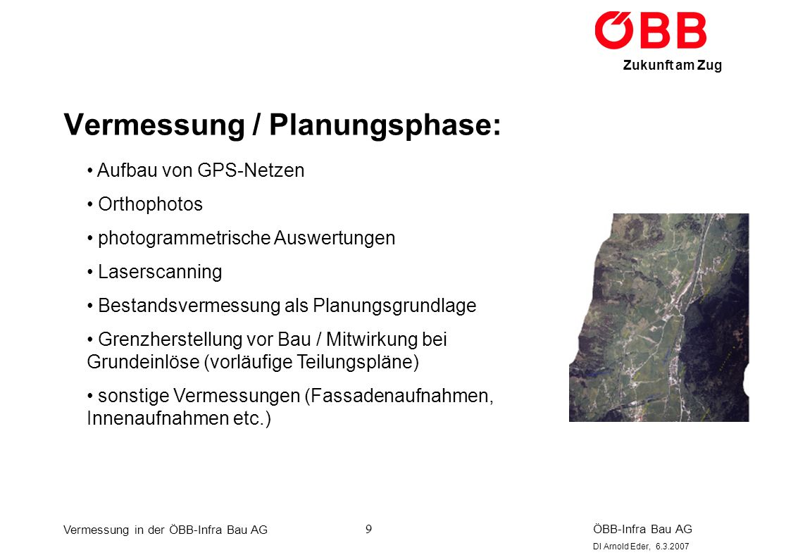 Vermessung in der ÖBB-Infra Bau AG ÖBB-Infra Bau AG DI Arnold Eder, 6.3.2007 Zukunft am Zug 30 GIS: