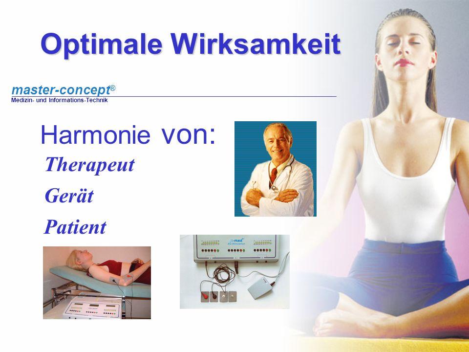 master-concept ® Medizin- und Informations-Technik Optimale Wirksamkeit Harmonie von: Therapeut Gerät Patient