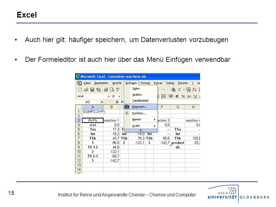 Institut für Reine und Angewandte Chemie – Chemie und Computer 15 Excel Auch hier gilt: häufiger speichern, um Datenverlusten vorzubeugen Der Formeled