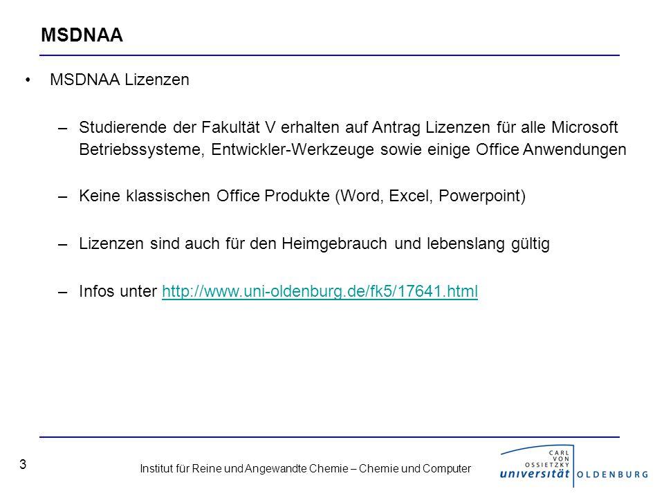 Institut für Reine und Angewandte Chemie – Chemie und Computer 4 Office-Pakete Verfügbarkeit des Microsoft Office-Paketes –CIP-Raum des Fachbereichs Chemie Raum W3 1-153 10 Arbeitsplätze mit 17-TFT-Bildschirmen und AMD-Athlon 2000+ CPU´s Betriebssystem Windows XP, diverse Software installiert, unter anderem das Office-Paket von Microsoft und der Beilstein-Commander –Rechnerräume des HRZ, die Standorte findet man unter: http://www.ibit.uni-oldenburg.de/7795.html http://www.ibit.uni-oldenburg.de/7795.html Freie Alternative: Open Office –Erhältlich unter: http://www.openoffice.org/http://www.openoffice.org/ –Problem: teilweise Kompatibilitätsprobleme mit Chemiesoftware (z.B.