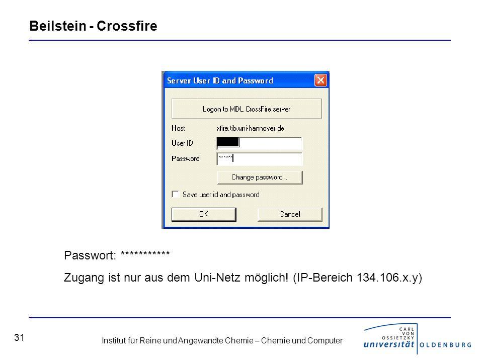 Institut für Reine und Angewandte Chemie – Chemie und Computer 31 Beilstein - Crossfire Passwort: *********** Zugang ist nur aus dem Uni-Netz möglich.