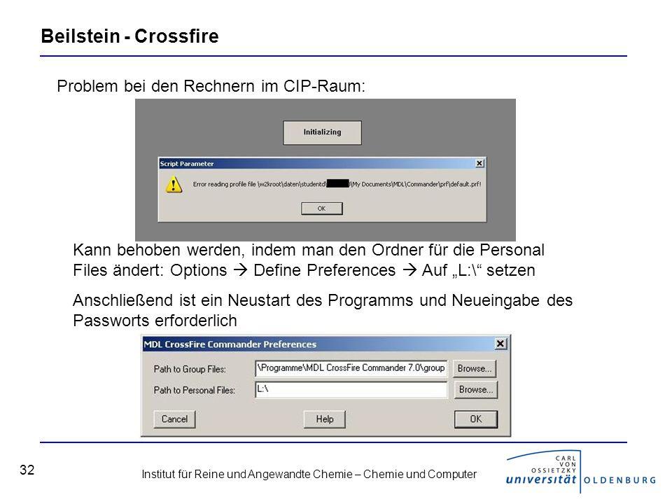 Institut für Reine und Angewandte Chemie – Chemie und Computer 32 Beilstein - Crossfire Problem bei den Rechnern im CIP-Raum: Kann behoben werden, ind