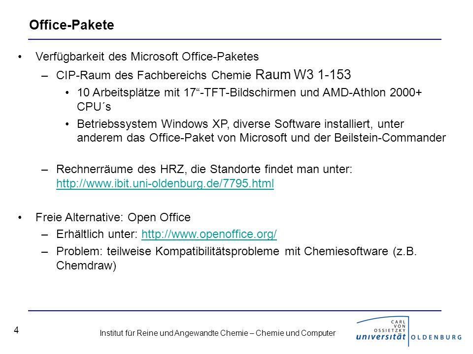 Institut für Reine und Angewandte Chemie – Chemie und Computer 25 Datenbanken Scifinder –Datenbank zur Literatur-Recherche, nur über das Uni-interne Netz verfügbar Cambridge Structural Database, CSD –Kristallstrukturen, Zugang zur Datenbankrecherche nur über einen lizensierten Rechner, Strukturen aus Artikeln ab 1994 können per mail angefordert werden: http://www.ccdc.cam.ac.uk/cgi-bin/catreq.cgihttp://www.ccdc.cam.ac.uk/cgi-bin/catreq.cgi Beilstein –Umfangreiche Datenbank für organische Moleküle.