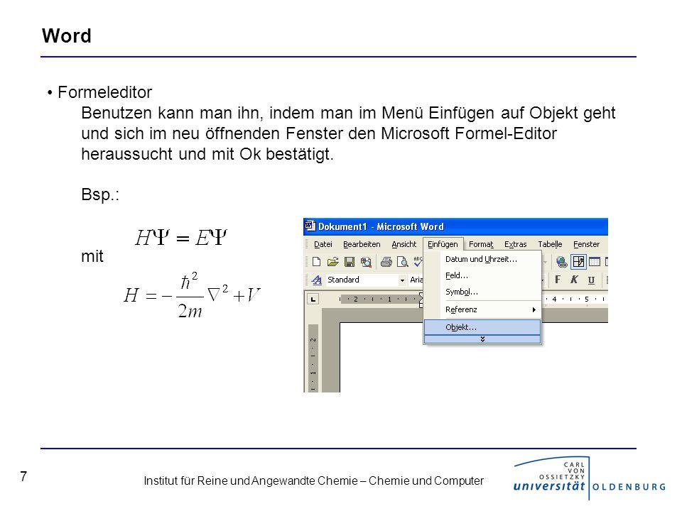 Institut für Reine und Angewandte Chemie – Chemie und Computer 18 Weitere chemische Software Chemsketch, ISIS/Draw –Chemsketch: http://www.acdlabs.com/download/chemsk.htmlhttp://www.acdlabs.com/download/chemsk.html –ISIS/Draw: http://www.mdli.com/downloads/index.jsphttp://www.mdli.com/downloads/index.jsp –Kostenlos, Registrierung in beiden Fällen erforderlich ChemDraw –Bestandteil von ChemOffice und in der vollen Version kostenpflichtig, eine Version, die zumindest 2 Wochen nutzbar ist, kann man unter folgender URL finden: http://scistore.cambridgesoft.com/software/product.cfm?pid=4010 http://scistore.cambridgesoft.com/software/product.cfm?pid=4010 Links zu weiterer kostenloser Software –http://spot.fho-emden.de/ftp/chemie.htmhttp://spot.fho-emden.de/ftp/chemie.htm