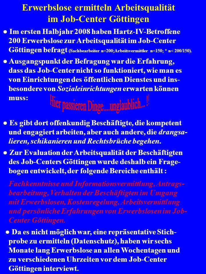 Gesamtbewertung der Arbeitsqualität im Job-Center Göttingen Keine Glanzleistung der ehemaligen Sozialamtsbeschäftigten und jetzigen LeistungssachbearbeiterInnen !