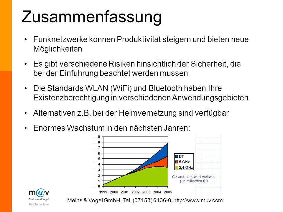 Meins & Vogel GmbH, Tel. (07153) 6136-0, http://www.muv.com Zusammenfassung Funknetzwerke können Produktivität steigern und bieten neue Möglichkeiten