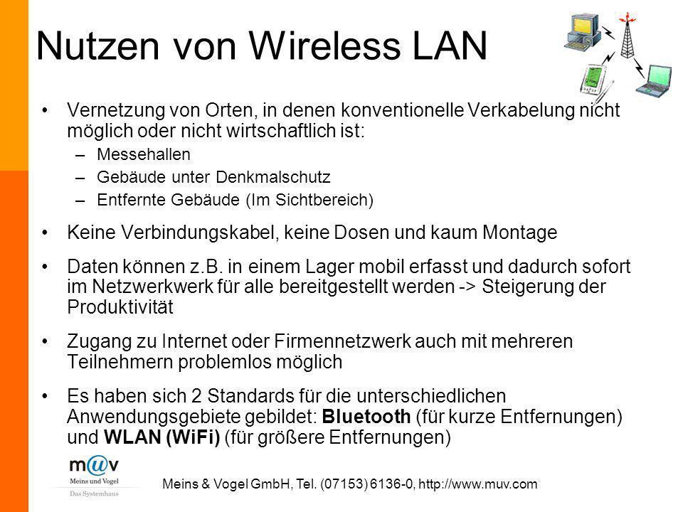 Meins & Vogel GmbH, Tel. (07153) 6136-0, http://www.muv.com Nutzen von Wireless LAN Vernetzung von Orten, in denen konventionelle Verkabelung nicht mö