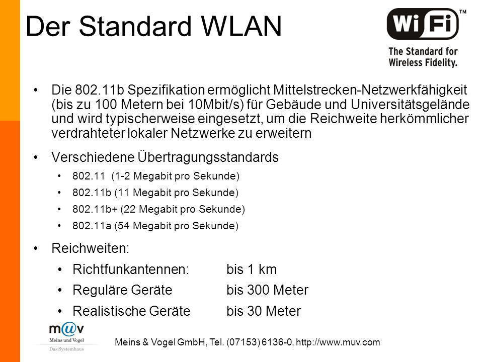 Meins & Vogel GmbH, Tel. (07153) 6136-0, http://www.muv.com Der Standard WLAN Die 802.11b Spezifikation ermöglicht Mittelstrecken-Netzwerkfähigkeit (b