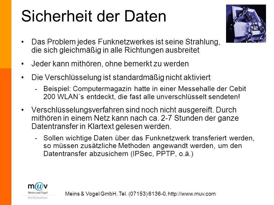 Meins & Vogel GmbH, Tel. (07153) 6136-0, http://www.muv.com Sicherheit der Daten Das Problem jedes Funknetzwerkes ist seine Strahlung, die sich gleich