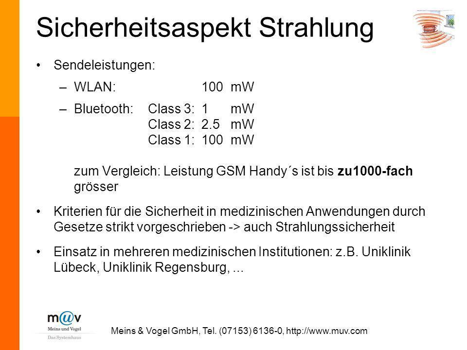 Meins & Vogel GmbH, Tel. (07153) 6136-0, http://www.muv.com Sicherheitsaspekt Strahlung Sendeleistungen: –WLAN:100mW –Bluetooth:Class 3:1 mW Class 2:2