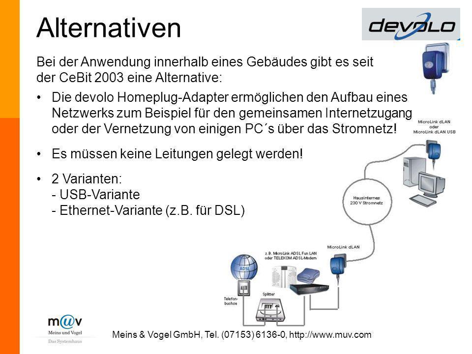 Meins & Vogel GmbH, Tel. (07153) 6136-0, http://www.muv.com Alternativen Die devolo Homeplug-Adapter ermöglichen den Aufbau eines Netzwerks zum Beispi