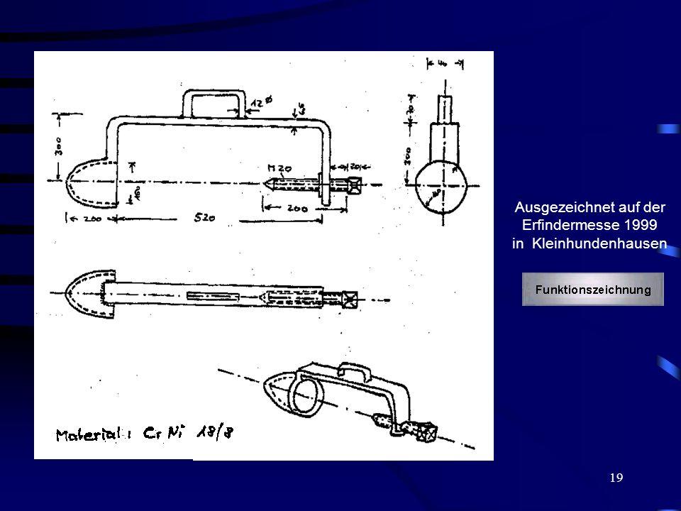 19 Ausgezeichnet auf der Erfindermesse 1999 in Kleinhundenhausen