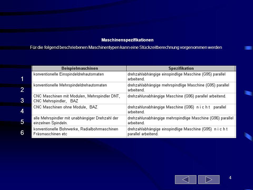 4 Maschinenspezifikationen Für die folgend beschriebenen Maschinentypen kann eine Stückzeitberechnung vorgenommen werden 123456123456