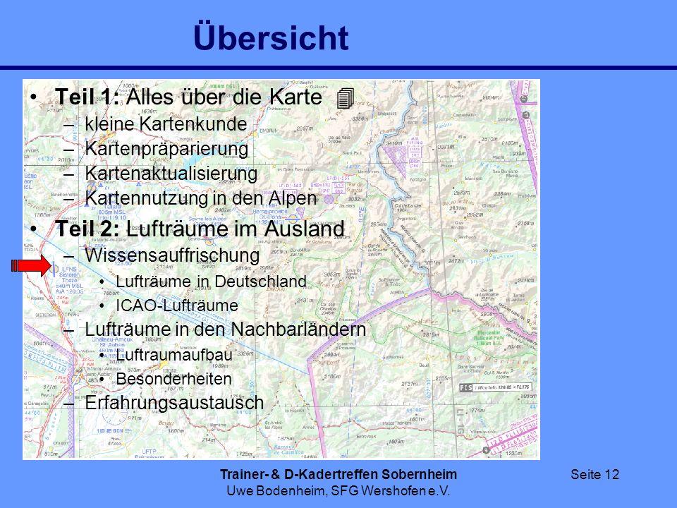 Trainer- & D-Kadertreffen Sobernheim Uwe Bodenheim, SFG Wershofen e.V. Seite 12 Übersicht Teil 1: Alles über die Karte –kleine Kartenkunde –Kartenpräp