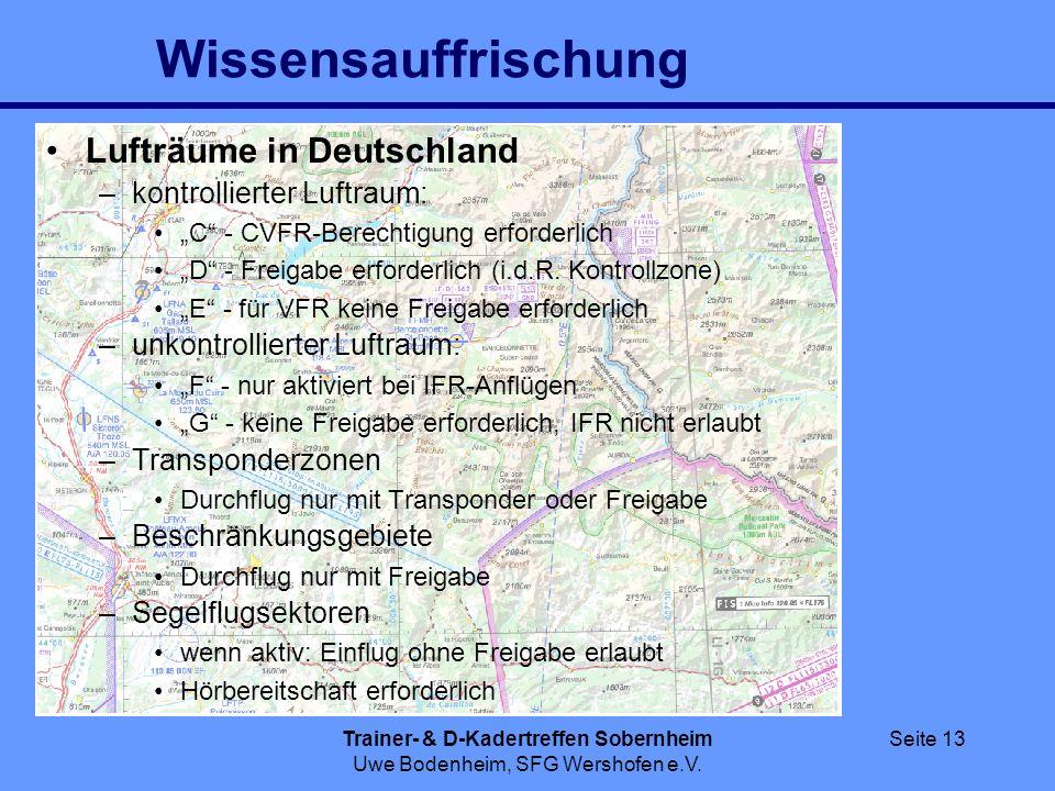 Trainer- & D-Kadertreffen Sobernheim Uwe Bodenheim, SFG Wershofen e.V. Seite 13 Wissensauffrischung Lufträume in Deutschland –kontrollierter Luftraum: