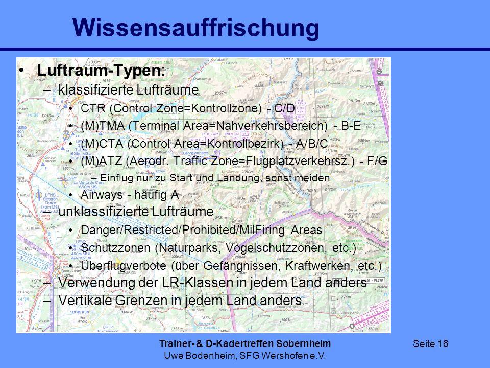 Trainer- & D-Kadertreffen Sobernheim Uwe Bodenheim, SFG Wershofen e.V. Seite 16 Wissensauffrischung Luftraum-Typen: –klassifizierte Lufträume CTR (Con