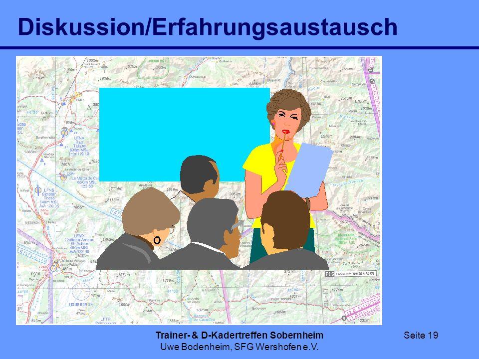 Trainer- & D-Kadertreffen Sobernheim Uwe Bodenheim, SFG Wershofen e.V. Seite 19 Diskussion/Erfahrungsaustausch