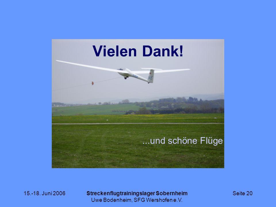 15.-18. Juni 2006Streckenflugtrainingslager Sobernheim Uwe Bodenheim, SFG Wershofen e.V. Seite 20 Vielen Dank!...und schöne Flüge