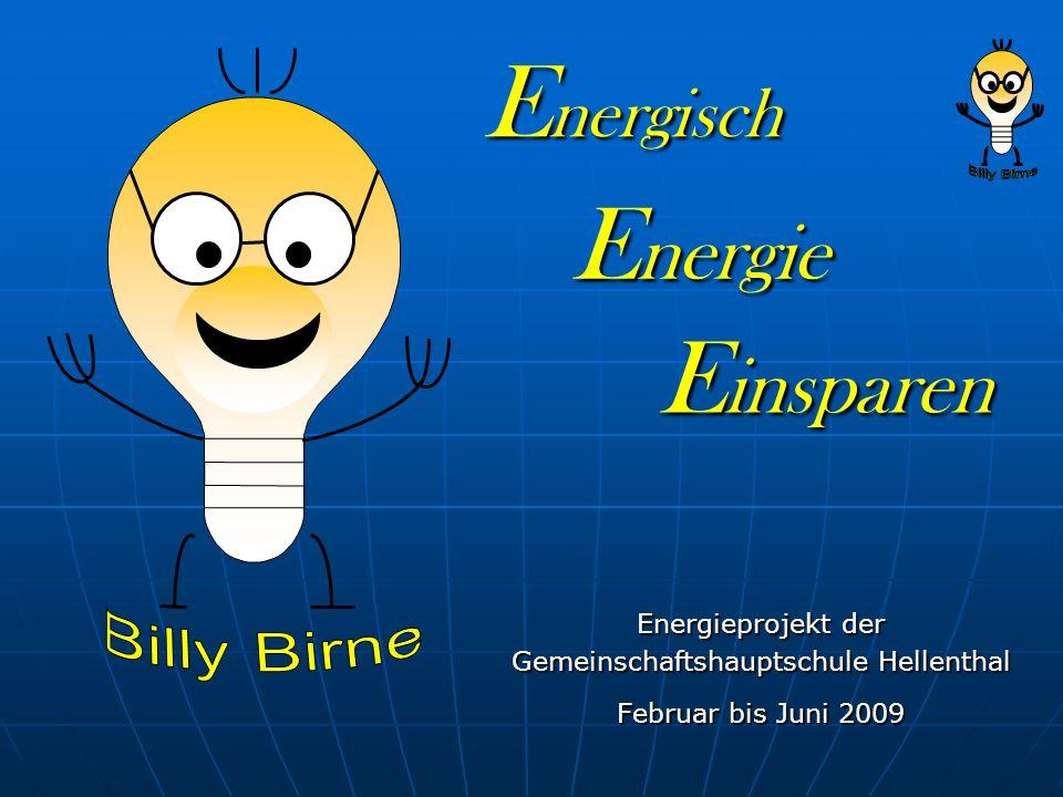 Energisch Energieprojekt der Gemeinschaftshauptschule Hellenthal Februar bis Juni 2009 Energie Einsparen