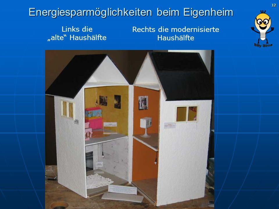 12 Energiesparmöglichkeiten beim Eigenheim Links die alte Haushälfte Rechts die modernisierte Haushälfte