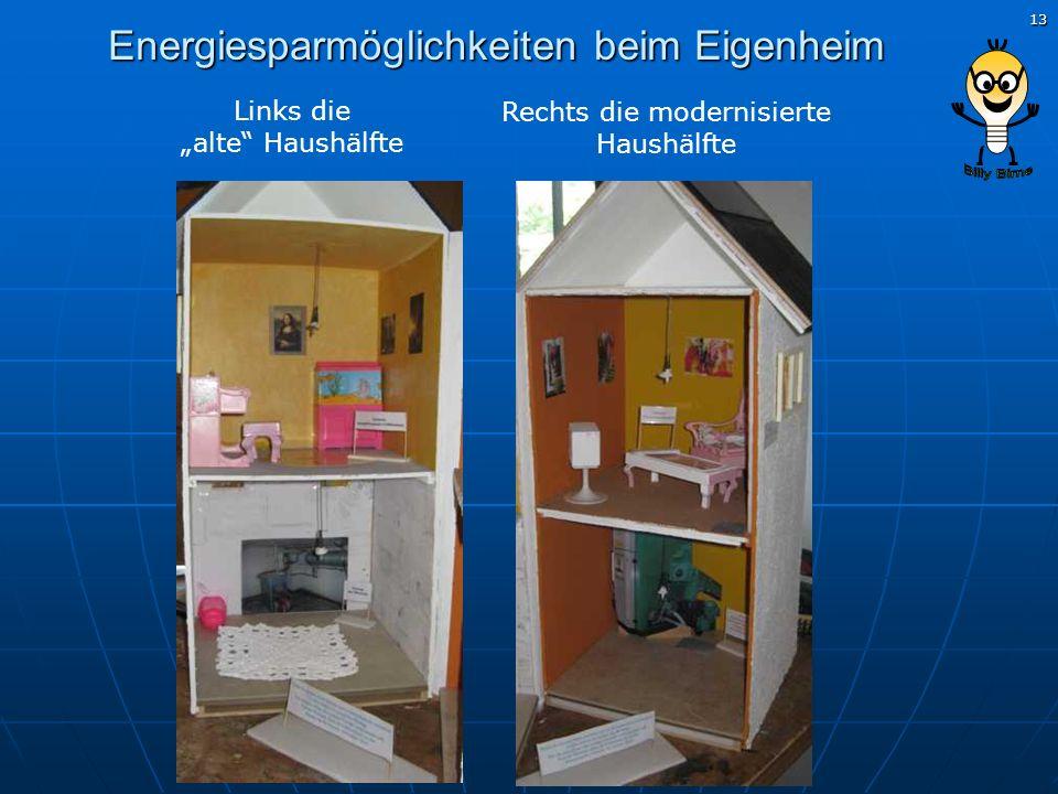 13 Energiesparmöglichkeiten beim Eigenheim Links die alte Haushälfte Rechts die modernisierte Haushälfte