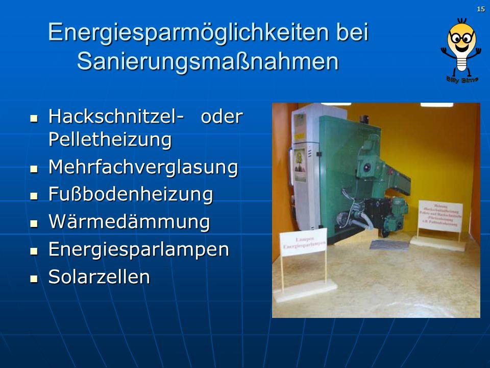 15 Energiesparmöglichkeiten bei Sanierungsmaßnahmen Hackschnitzel- oder Pelletheizung Hackschnitzel- oder Pelletheizung Mehrfachverglasung Mehrfachver