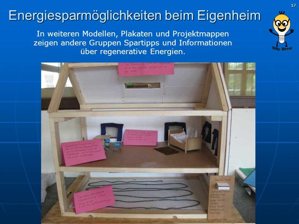 17 Energiesparmöglichkeiten beim Eigenheim In weiteren Modellen, Plakaten und Projektmappen zeigen andere Gruppen Spartipps und Informationen über reg