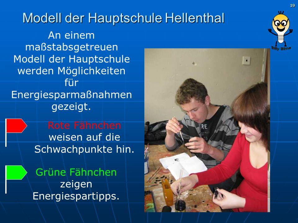 19 Modell der Hauptschule Hellenthal Grüne Fähnchen zeigen Energiespartipps. Rote Fähnchen weisen auf die Schwachpunkte hin. An einem maßstabsgetreuen