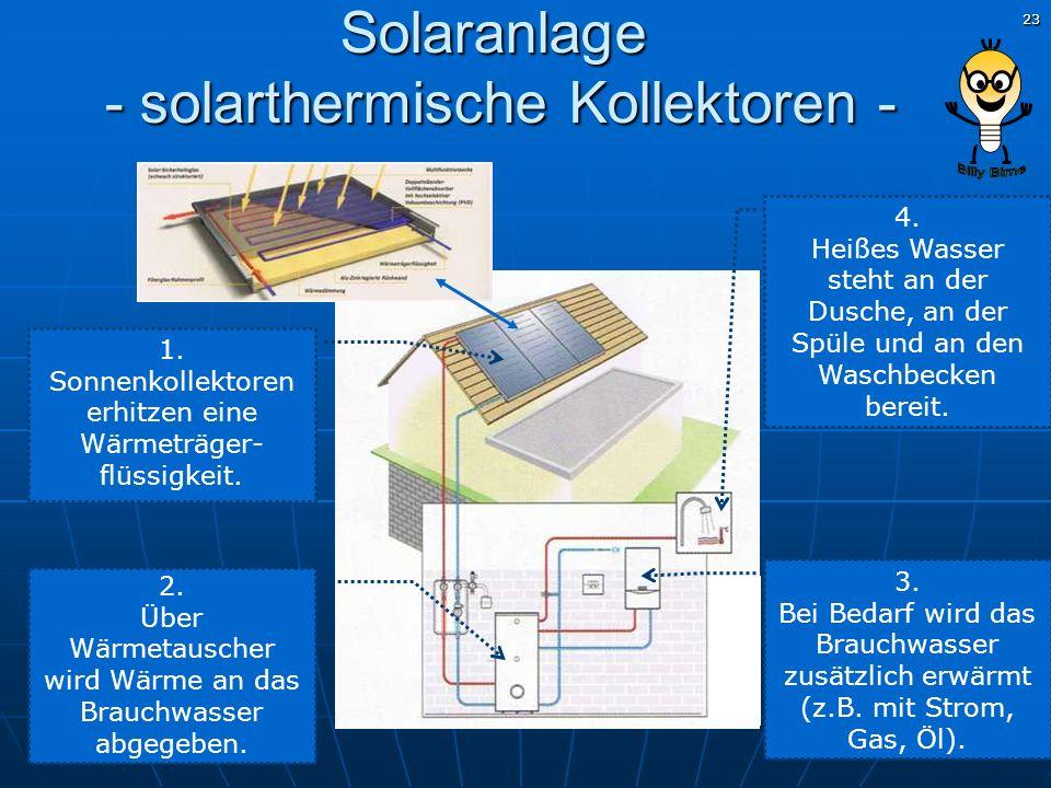 23 1. Sonnenkollektoren erhitzen eine Wärmeträger- flüssigkeit. 2. Über Wärmetauscher wird Wärme an das Brauchwasser abgegeben. 3. Bei Bedarf wird das