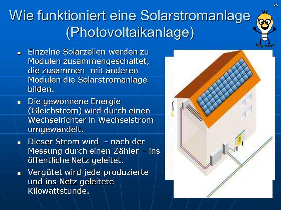 25 Wie funktioniert eine Solarstromanlage (Photovoltaikanlage) Einzelne Solarzellen werden zu Modulen zusammengeschaltet, die zusammen mit anderen Mod