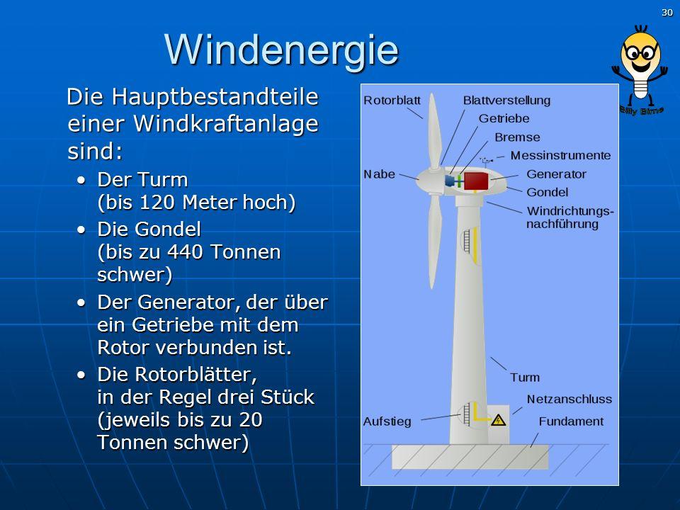 30 Windenergie Die Hauptbestandteile einer Windkraftanlage sind: Die Hauptbestandteile einer Windkraftanlage sind: Der Turm (bis 120 Meter hoch)Der Tu